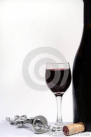 Free Wine Bottle, Glass And Corkscrew Stock Photo - 3141240