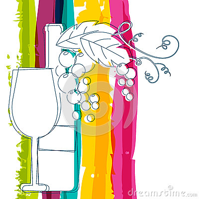 Free Wine Bottle, Glass, Branch Of Grape With Leaves And Rainbow Stri Stock Photography - 52209142