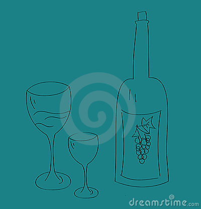 Wine bottle and glass cup