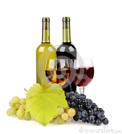 Wine bottle, glass and grapes