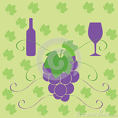 Wine bottle glass and grapes