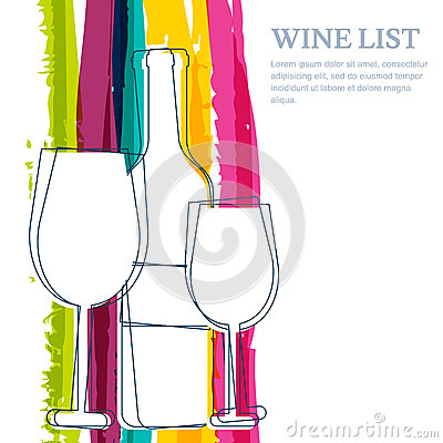 Free Wine Bottle, Glass Silhouette And Rainbow Stripes Watercolor Bac Stock Photo - 52158780