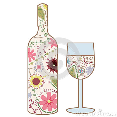 Wine Bottle And Glass Vintage Stock Vector - Image: 42777289
