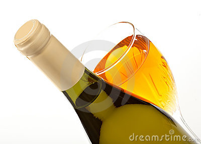 Wine bottle and glass with wine close up isolated