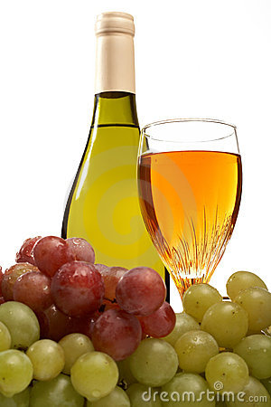 Wine bottle and glass of wine with grapes isolated