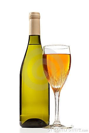 Wine bottle and glass with wine isolated.