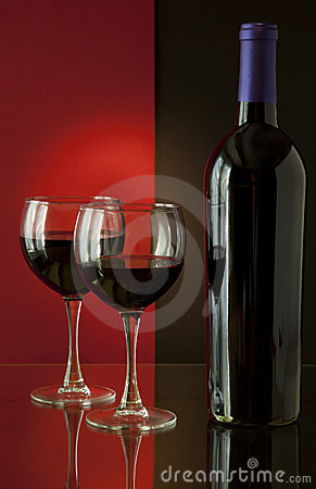 Wine Bottle and Glasses