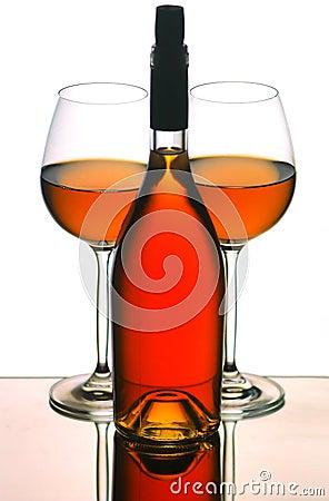 Wine bottle & glasses