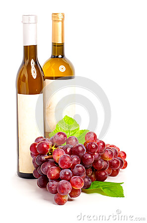 Wine bottle and red  grape with