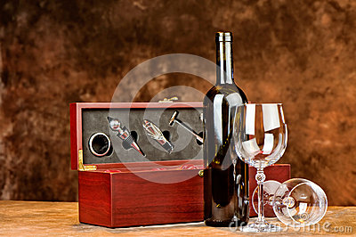 Wine bottle and two wine glasses