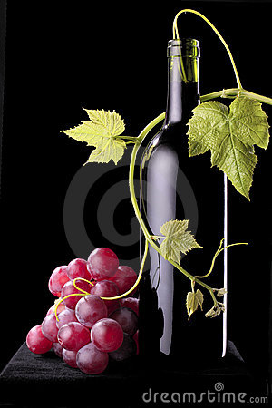 Wine bottle with a vine plant and grapes