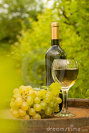 Wine bottle with wineglass and grapes in vineyard