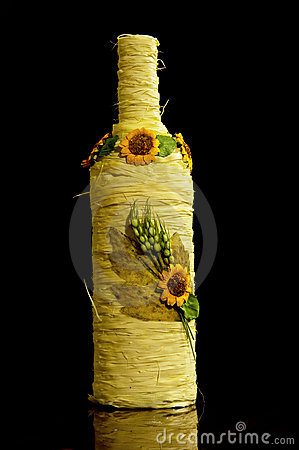 Free Wine Bottle Wrapped In Yellow Rope Stock Photo - 14472900