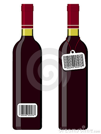 Wine bottles with bar code tag