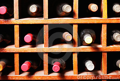 Wine bottles in cells