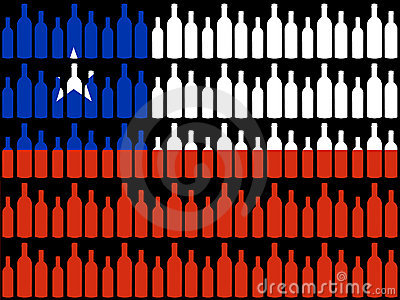 Wine bottles and Chilean flag