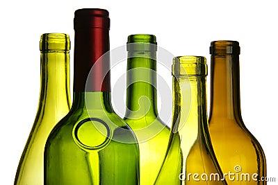 Wine bottles close-up