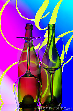 Wine bottles and glasses abstract