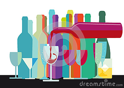 Wine Bottles and Glasses Design
