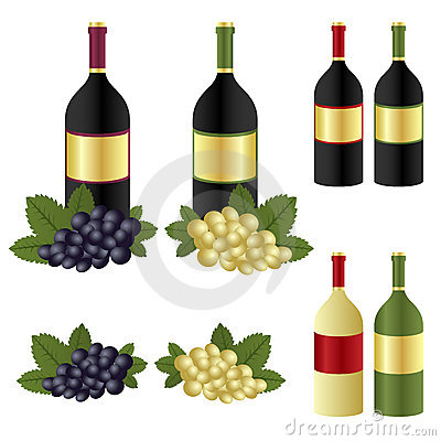 Wine bottles and grape