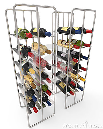 Wine Bottles in a Metal Wine Rack Editorial Photo