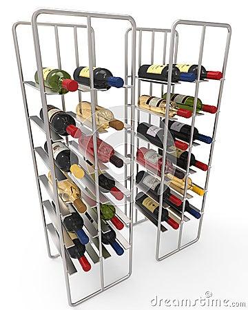 Wine Bottles in a Metal Wine Rack Editorial Photo