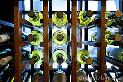 Wine bottles in rack