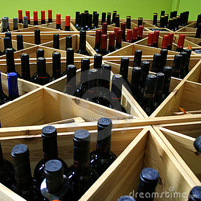 Wine Bottles In Shelf