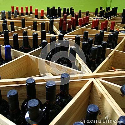Wine Bottles In Shelf