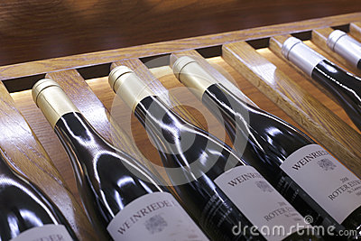 Wine in bottles in wine shop Editorial Stock Photo