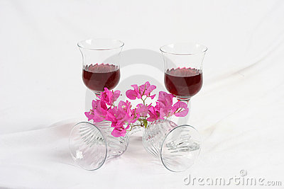 Wine and bougainvillea flowers