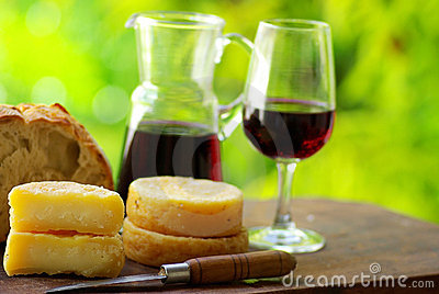 Wine, bread and cheese.