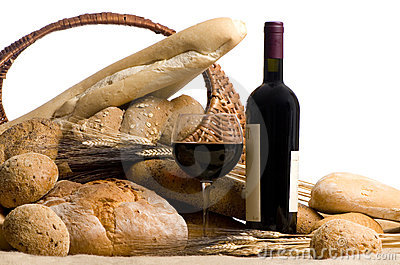 Wine with Bread Isolated on white