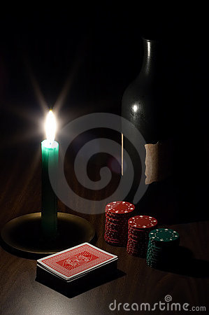 Free Wine, Candle, Playing Cards And Chips Stock Photography - 393972