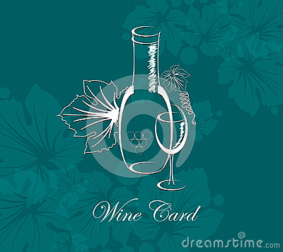 Wine card alcohol drink glass and bottle