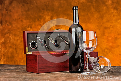 Wine case with wine bottle