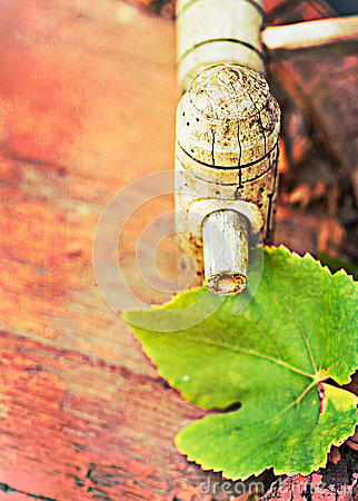 Wine cask  and grapes leaf, retro colors