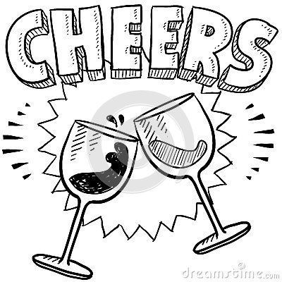 Wine celebration sketch