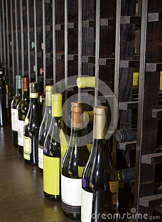 Wine cellar with wine bottles