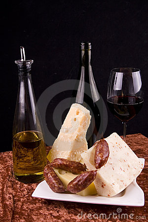 Wine and cheese appetizers