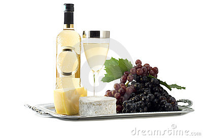 Wine composition isolated on white