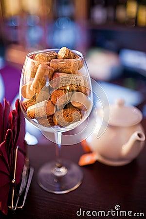 Wine cork in the glass