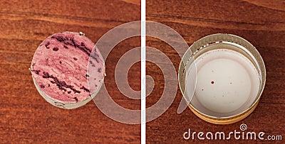 Wine cork and screw cap