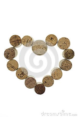 Free Wine Corks Form A Heart Shape Image Isolated On White Background Vertical Stock Photos - 49276133