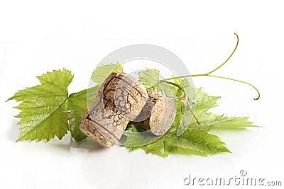 Wine corks on grape leave