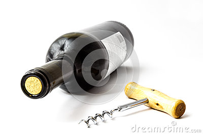 Wine and corkscrew