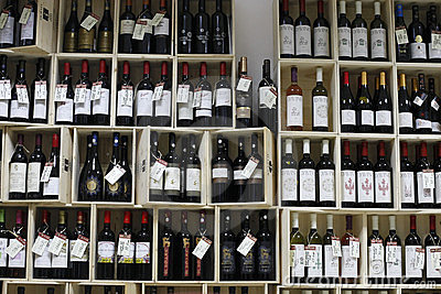Wine department at supermarket Editorial Photography