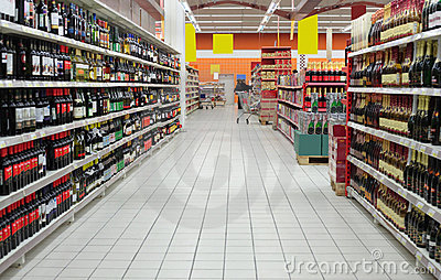 Wine department in supermarket