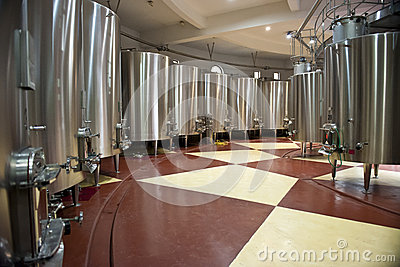 Wine fermentation in big vats