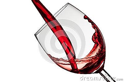 Wine fills a wineglass